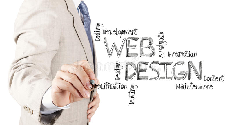 Business man hand drawing web design diagram royalty free stock image