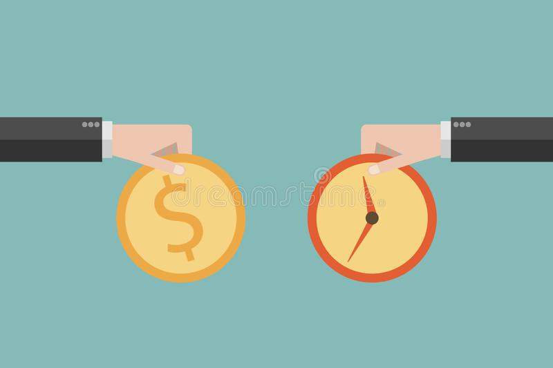 Business man hand exchanging time and money to each other Minimalist flat design. vector business finance.  royalty free illustration