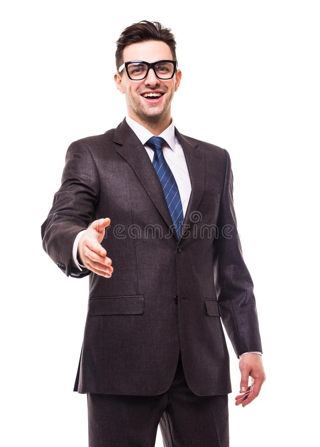 Business man with hand extended to handshake isolated over white royalty free stock image