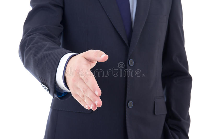 Business man hand extended to handshake isolated on white. Background royalty free stock image