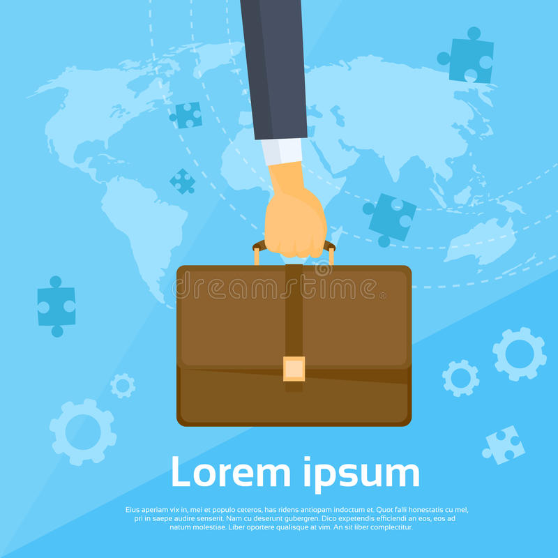 Business Man Hand Hold Briefcase Flat Vector royalty free illustration