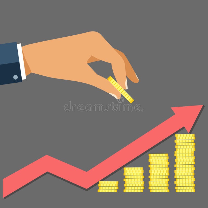 Business man hand hold gold coin and growth stocks with coins wi royalty free stock photo