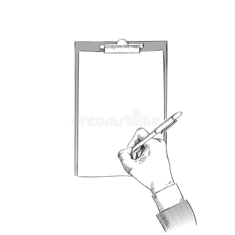 Business Man Hand Hold Pen Write Sign Up Contract. Paper Document Sketch Isolated Copy Space White Background Vector Illustration royalty free illustration