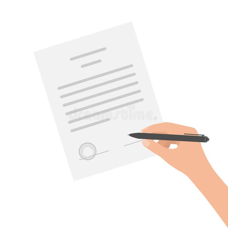 Business man hand makes out manually contract agreement. Signed treaty paper with pen, legal document symbol with stamp, stock illustration