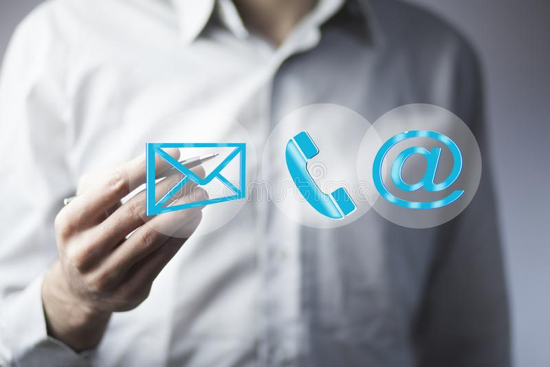 Business man hand message phone and @mail mark in screen stock images