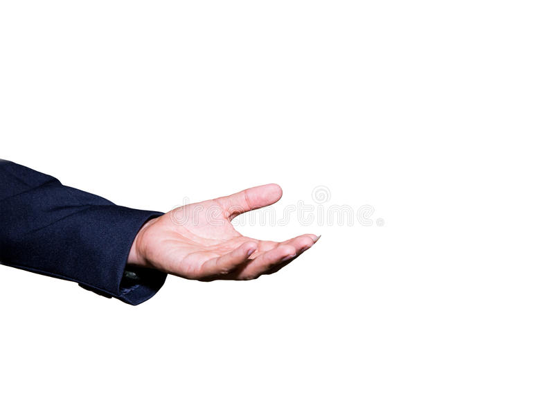 Business man hand open and ready to receive or help isolated on white background. royalty free stock photos