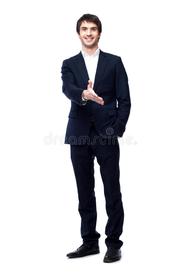 Business man with hand ready to seal a deal royalty free stock photo