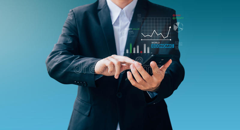 Business man hand sign about searching economic news. With smartphone, Internet online concept royalty free stock photo