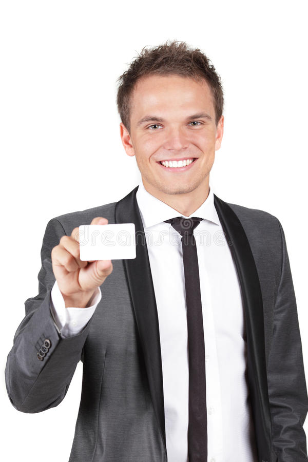 Download Business Man Handing A Blank Business Card Stock Image - Image: 16234293