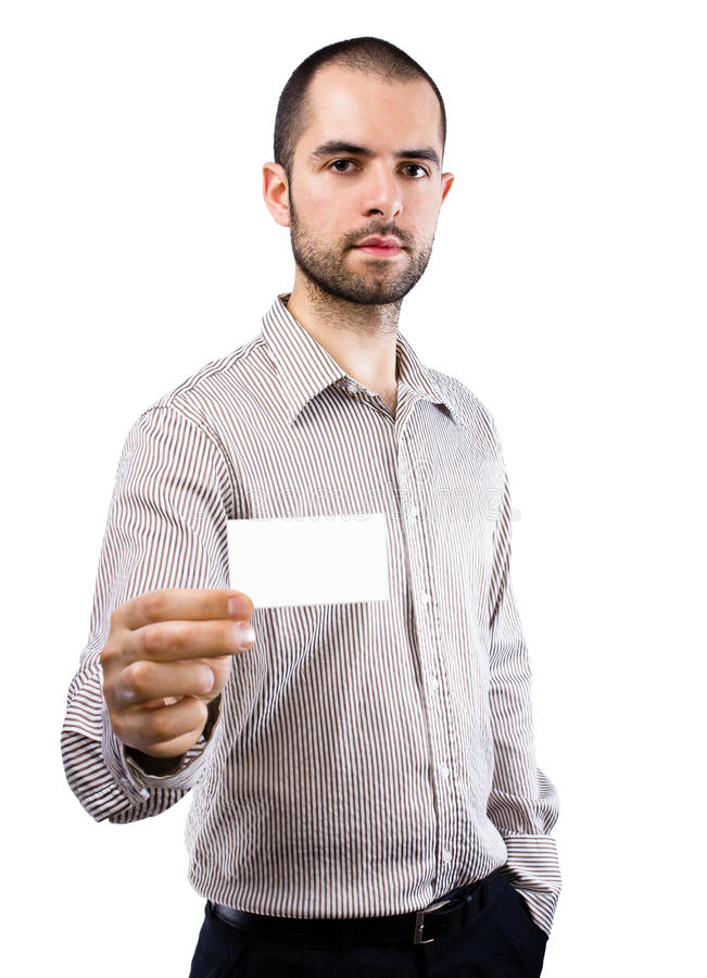 Business Man Handing A Blank Business Card Stock Images