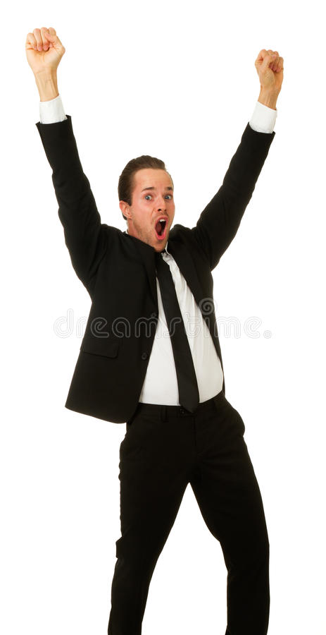 Business man with hands in air. royalty free stock photography