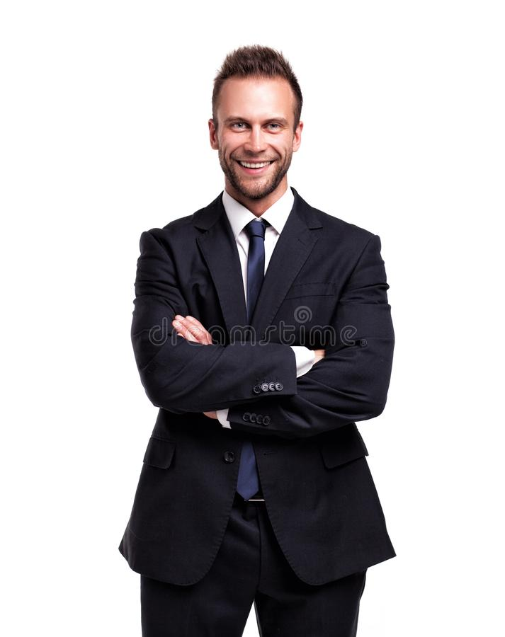Business man with hands crossed, isolated. royalty free stock image