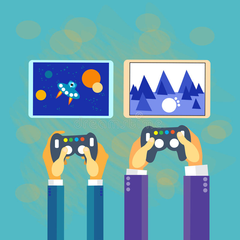 Business Man Hands Gamer Play Tablet Video Game. Screen Hold Pad Controller Flat Vector Illustration stock illustration