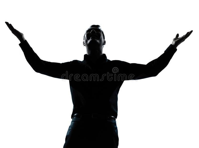 Business man happy arms outstretched