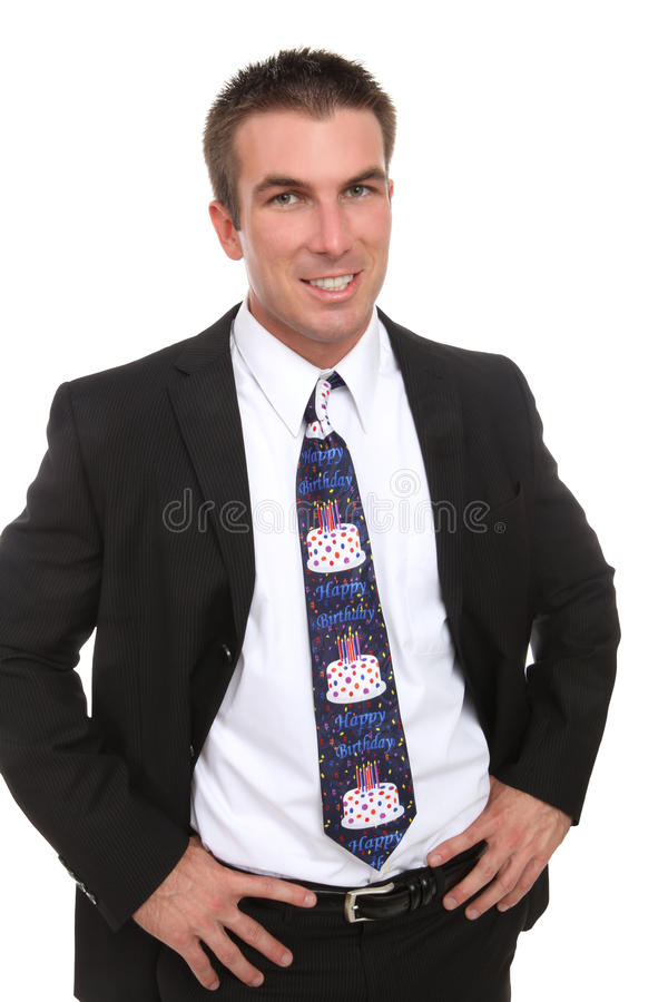 Business Man with Happy Birthday Tie royalty free stock photo
