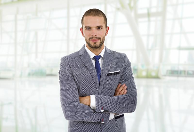 Business man. Happy business man portrait at the office stock images