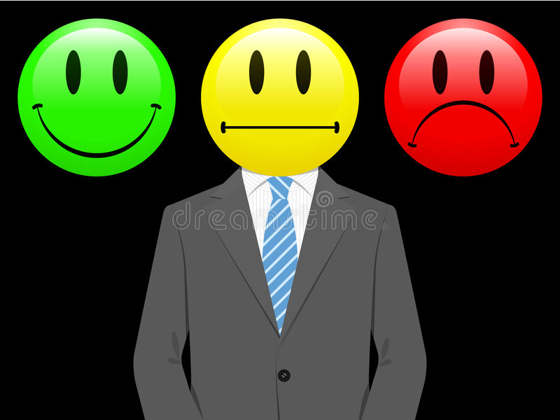 Download Business Man With Happy, Neutral, Unhappy Smiley Stock Vector - Image: 9123908