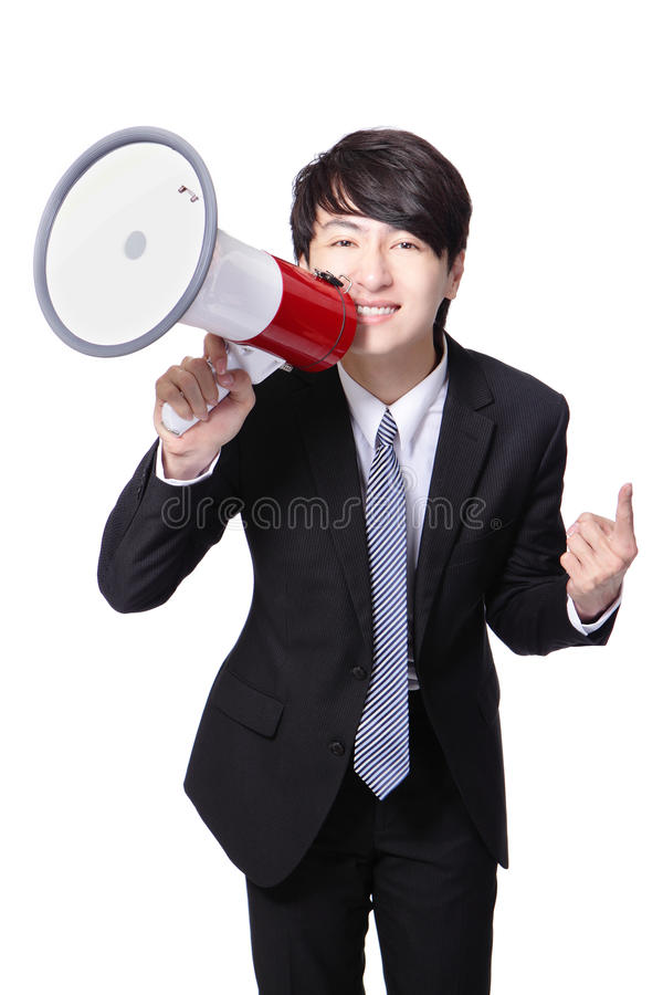 Download Business Man Happy Shouting Megaphone Stock Photo - Image: 28348572
