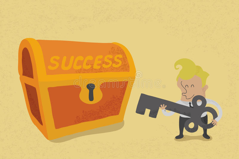 Business man has key to success. Eps10 format vector illustration