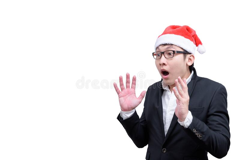 Business man has shocking and surprised with Christmas festival. Themes isolated on white background amazing asia asian black businessman caucasian celebration stock image