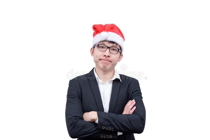 Business man has thinking new idea and target with Christmas festival themes isolated on white background. royalty free stock photos