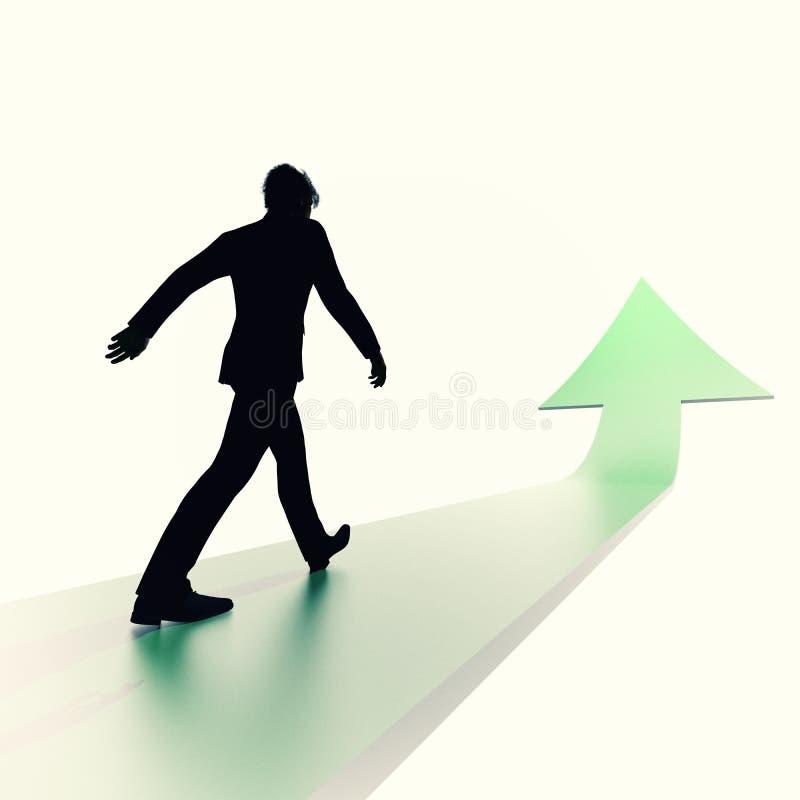 Man walking on green arrow royalty free illustration