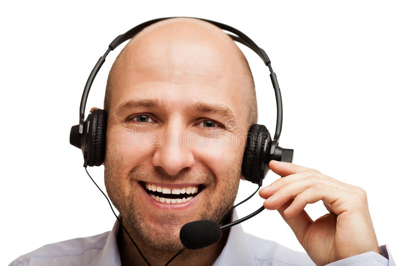 Business man with headphones stock photography