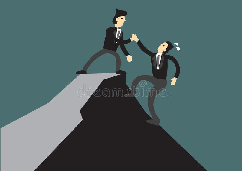 Business man helping another to reach the top of the cliff. Business concept of teamwork, leadership or relationship. stock illustration