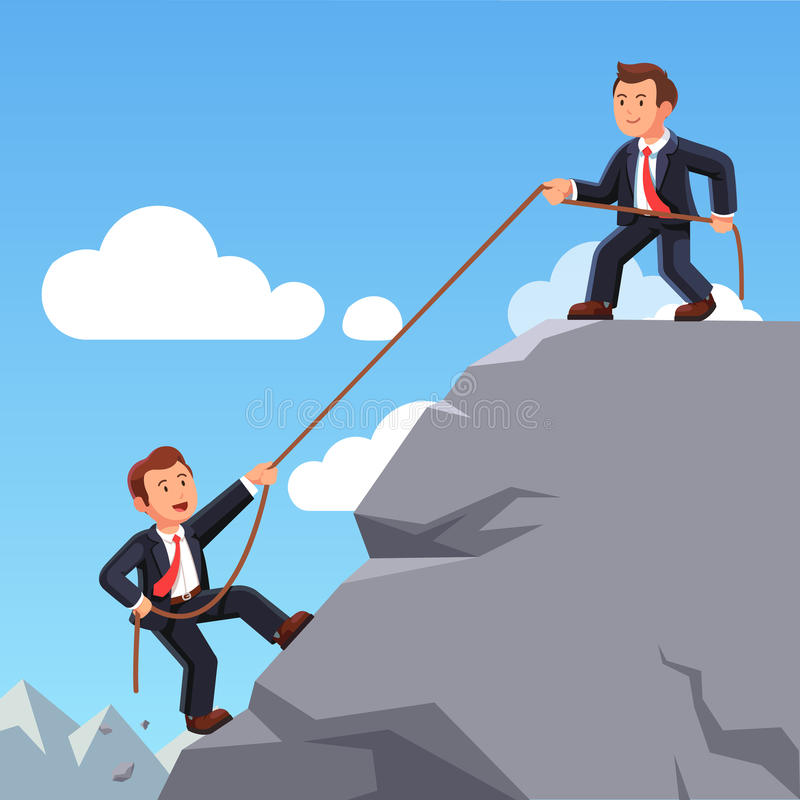 Business man helping friend climbing up with rope stock illustration