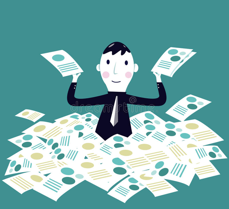 Business man and his document. Job done. Business and successful Concept. Vector eps 10 stock illustration