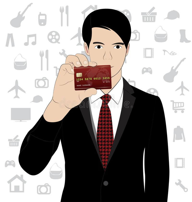 Business man hold credit card. On white background vector illustration