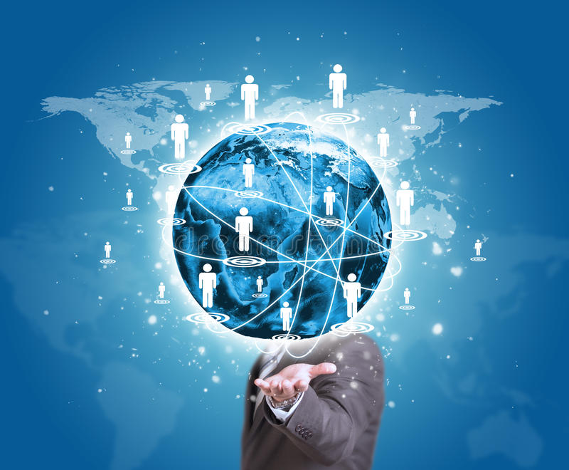 Business man hold Earth in hand. World map with. Contact icons. Elements of this image are furnished by NASA royalty free stock photography