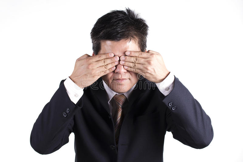 Technology Management Image: Business Man Hold Hand Cover His Eyes Stock Photo