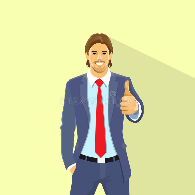 Business Man Hold Hand With Thumb Up Gesture vector illustration