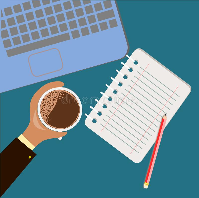 Business man hold a hot coffee cup on his desk stock illustration