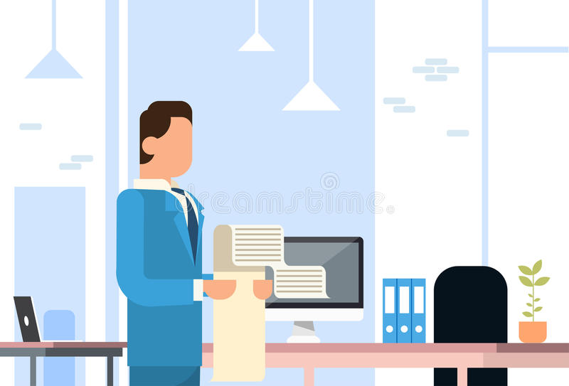 Business Man Hold Long Check List Paper Office Interior royalty free illustration