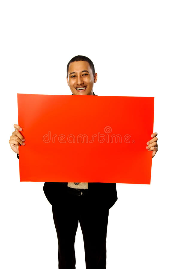 Download Business Man Hold Red Sign stock photo. Image of banner - 13400598