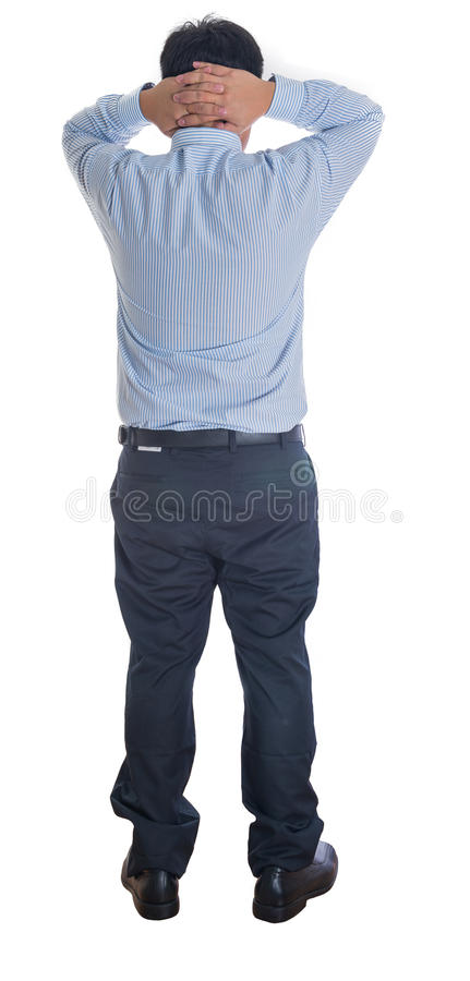 Business man hold two hand on head,standing back royalty free stock photos