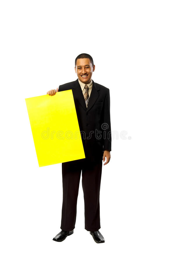 Download Business Man Hold Yellow Sign Stock Photo - Image: 13480380