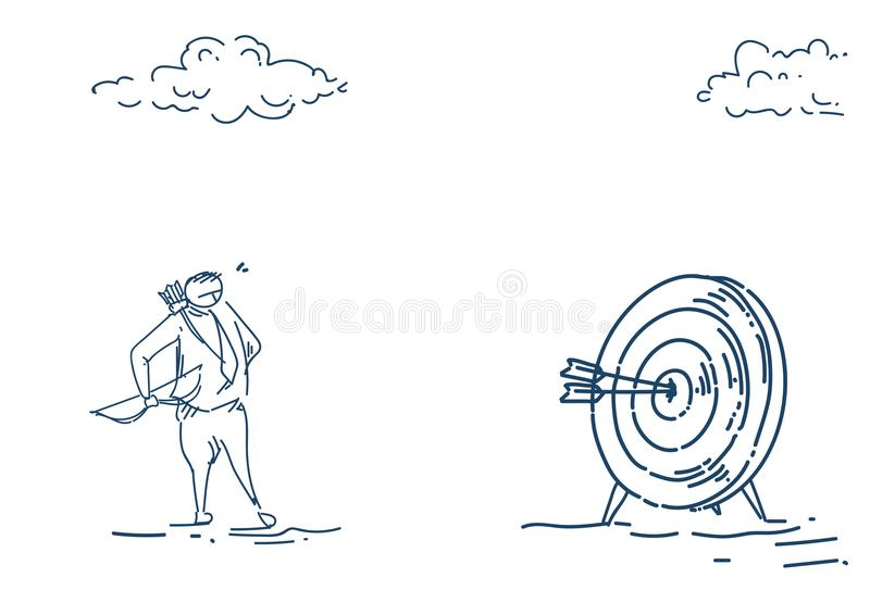 Business man holding arrow target goal arbalist success concept over white background sketch doodle royalty free illustration