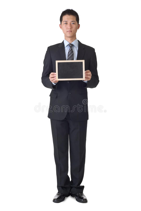 Download Business Man Holding Blank Blackboard Stock Image - Image: 16215685