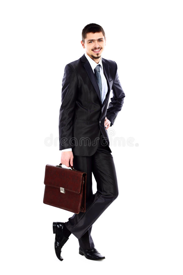 Technology Management Image: Business Man Holding Briefcase In Hand Stock Photo