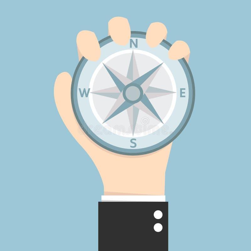 Business man holding compass stock illustration
