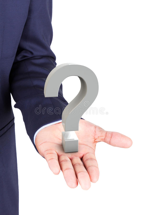 Business man holding a 3d question mark in hand palm stock image