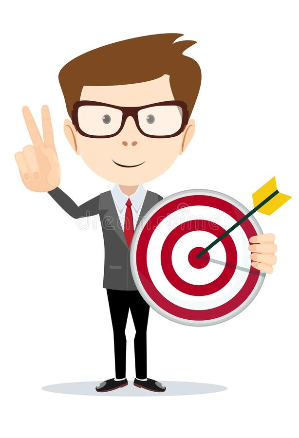 Business man holding a dart board with a direct hit on target. royalty free illustration