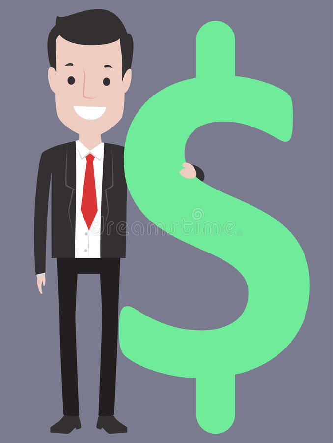 Business Man Holding a Dollar Sign royalty free illustration