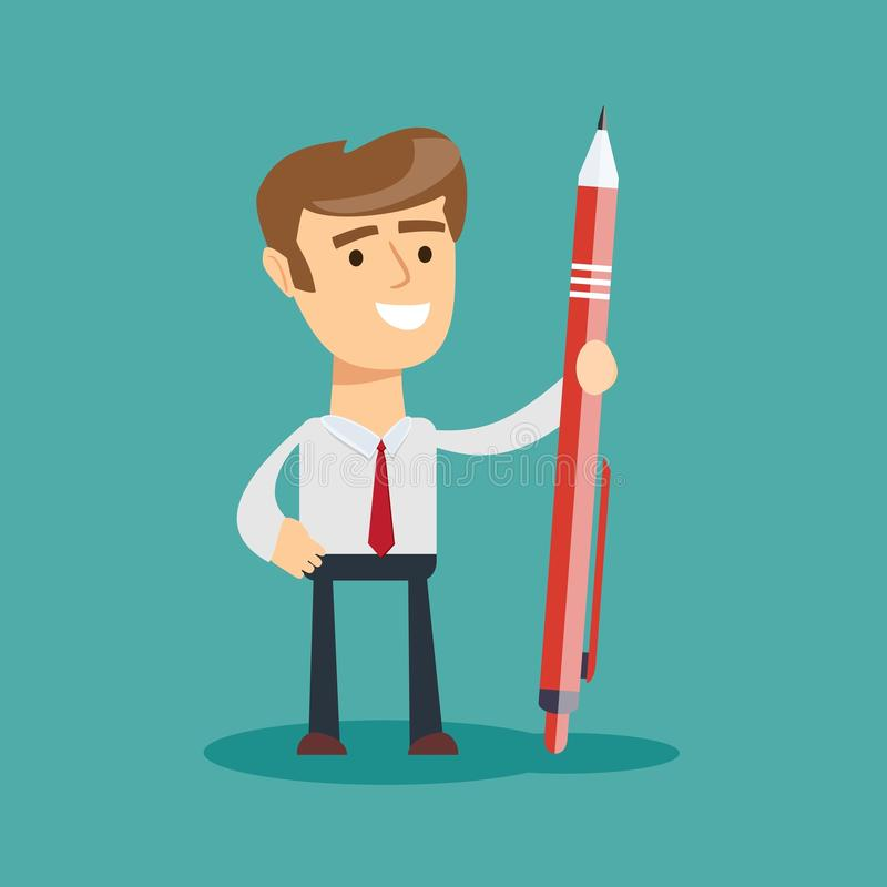 Business man holding a giant pen royalty free illustration
