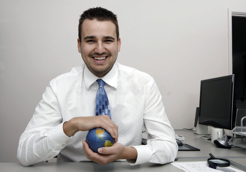 Download Business Man Holding A Globe Stock Image - Image of person, agent: 2740075