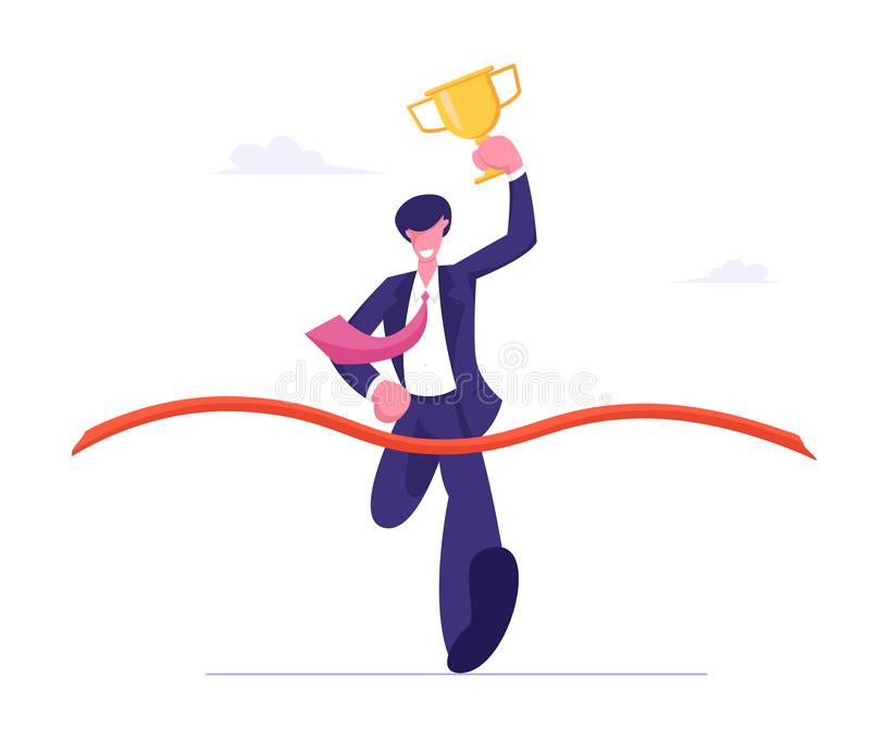 Business Man Holding Golden Goblet in Hand Take Part in Race Run to Success. Leadership and Competition Concept. Businessman Crossing Finish Line with Red vector illustration