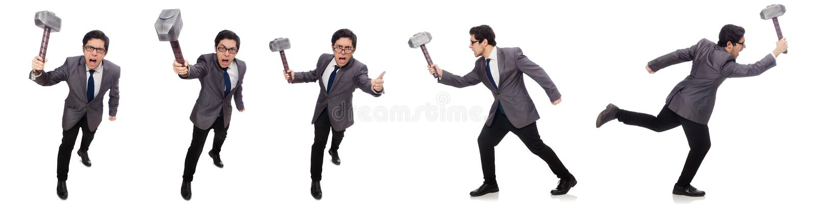 Business man holding hammer isolated on white. The business man holding hammer isolated on white stock photos